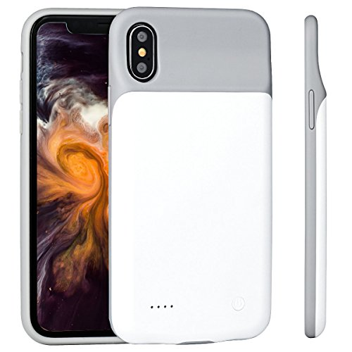 iPhone X Battery Case - 3200mAh Slim Portable Charger Rechargeable Extended Backup Battery Protective Charging Pack Power Bank Case for iPhone X / iPhone 10 (2017) [Support Lightning Headphones] White