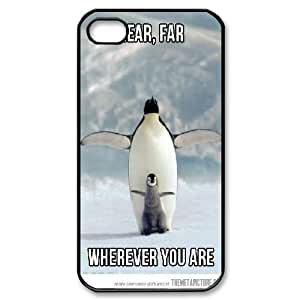 Penguin For Apple Iphone 4/4S Case Cover Unique Penguin Titanic Wherever You Are, Cute For Apple Iphone 4/4S Case Cover [Black]