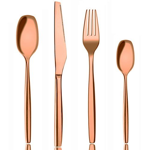 Flatware Set, 4 Pieces Rose gold Stainless Steel Dinnerware Flatware Sets by AOOSY