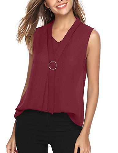 iClosam Women Casual Bow Tie Chiffon V-Neck Cuffed Sleeve Blouse Tops (#2Wine Red(Sleeveless), XX-Large)