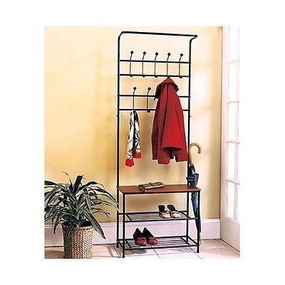 Amazon Com Coat Hat Racks Entryway Storage Bench Coat Rack Black