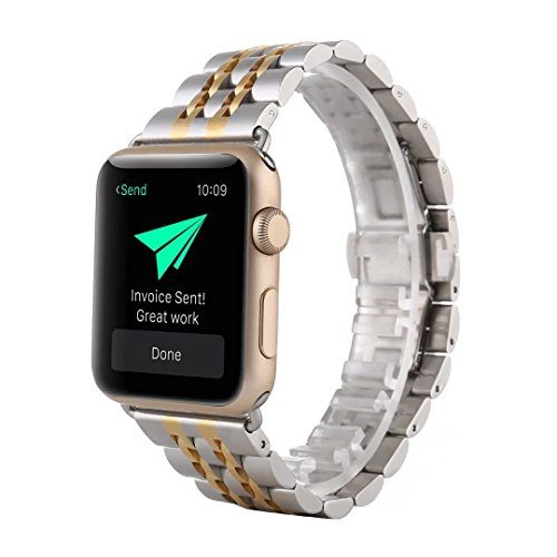 MeShow TCSHOW 38mm Two Tone Silver Gold Stainless Steel Metal Replacement Classic Band Metal Clasp Classic Buckle Compatible Apple iWatch Sport & Edition 38mm
