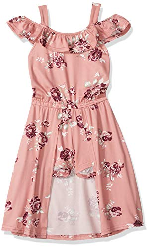 One Step Up Girls' Little Romper Maxi Dress, Mauve Floral -