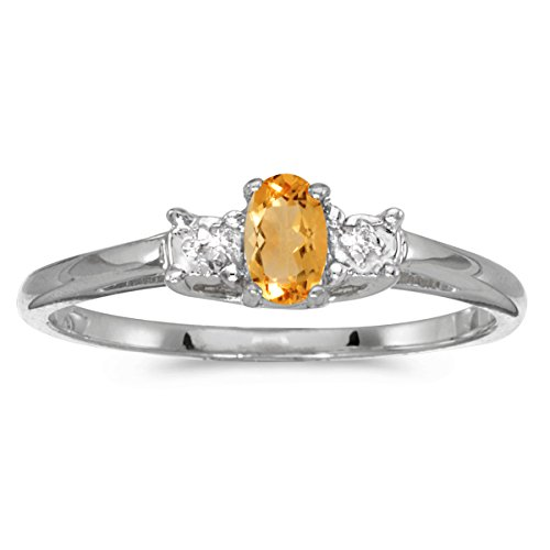 Jewels By Lux 10k White Gold Genuine Birthstone Solitaire Oval Citrine And Diamond Wedding Engagement Ring - Size 6.5 (0.15 Cttw.)