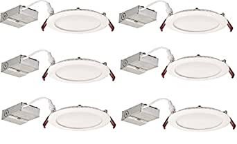 "Lithonia Lighting (Pack of 6) 13W Ultra Thin 6"" Dimmable Recessed Ceiling Light, 3000K, White - Easy to install - Save time and money - Energy Efficient LED Lighting"