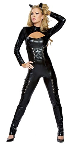 Queen Of Felines Cat Costumes (Sexy Queen of Felines 2pc Women's Catwoman Body Suit Costume (S/M))