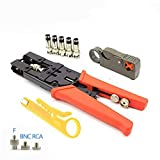 Coax Crimping pliers Coax Wire stripped Tool,Cable Stripper for RG-58/59/6(3C,4C,5C) F/BNC/RCA Connectors Deluxe Cable Crimper