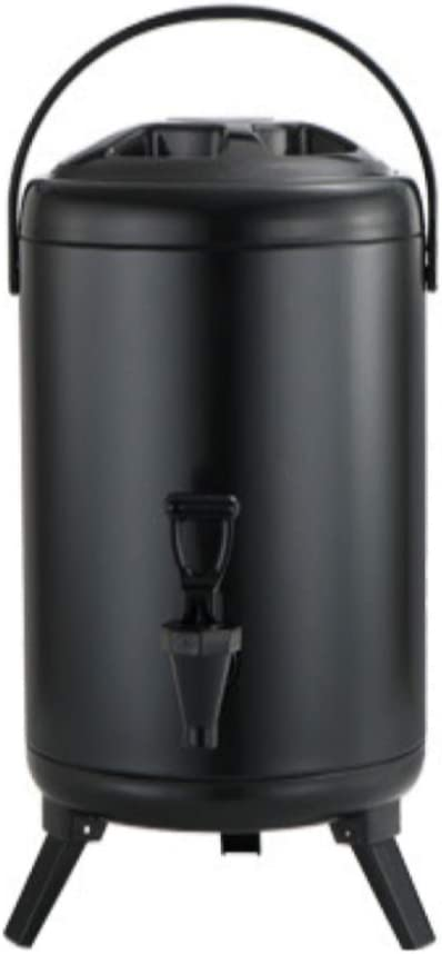2.5 Gallon Insulated Beverage Dispenser with Stainless Steel Insulated Double Wall Matte Surface Black for Coffee Tea Milk Soup Family Party Cafe Buffet (1, 12L)