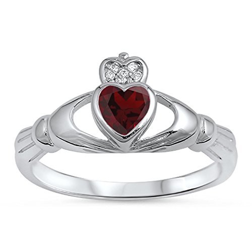 925 Sterling Silver Faceted Natural Genuine Red Ruby Claddagh Heart Promise Ring Size 6