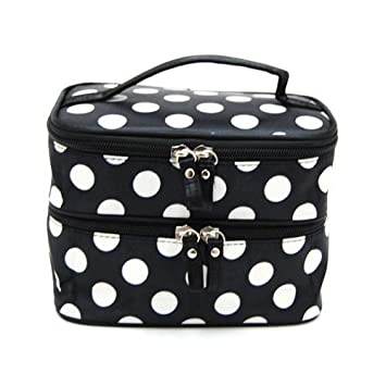 0caf07dc8653 Amazon.com   FuzzyGreen Double Layer Cosmetic Bag Black with White Dot Polka  Travel Toiletry Cosmetic Makeup Bag Organizer With Mirror   Beauty