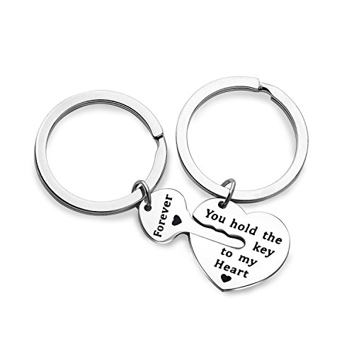 Key My Heart - Couples Keychain Set You Hold the Key to My Heart Forever Jewelry for BBF (key to heart set)