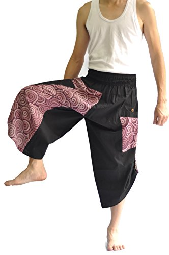 Siam Trendy Mens Harem Pants Design Japanese Style Pants One Size Black and Circle Design (Purple) by Siam Trendy (Image #2)