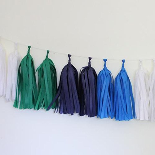 Jesipi Blue White Green Sky Blue Paper Tassels Mixed 4 Colors Party Tassels Garlands DIY Wedding Decoration Ideas Pack of 8
