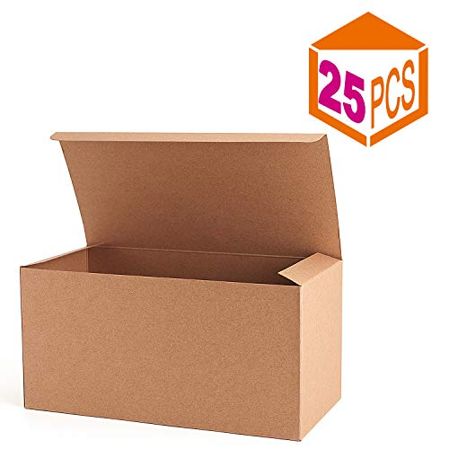 MESHA Recycled Gift Boxes 9x4.5x4.5 Inch Brown Paper Boxes 25PCS Kraft Favor Boxes for Party, Wedding, Gift]()