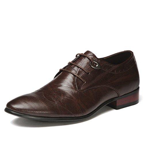 Männer Leder England Niedrige Hilfe Spitz Herrenschuhe Derby Spitze Einzelne Schuhe Brown