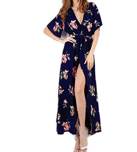 Breve Tagliato Floreale Collo Manica Vestito Pattern9 Chiffon Lunga Maxi Coolred donne V wfqRRY