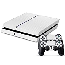 New Skin Stickers Decals of White Carbon Fiber Vinyl Skin Sticker Cover for Sony PS4 PlayStation 4 Game Console and 2 Controllers