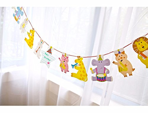 Birthday Party Banner - Funny Animal Happy Birthday Banner Party Bell Garland Flags for Kids Birthdays Party Supplies Decorations by Unknown