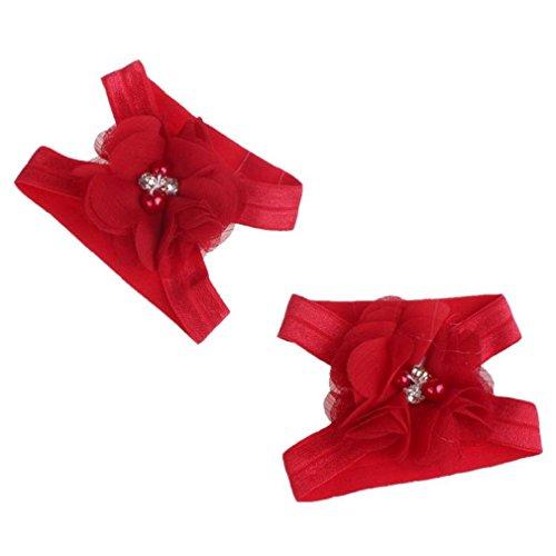Koly Vistoso Flor pies Sandalias + Venda Conjunto para bebés (Púrpura) Rojo