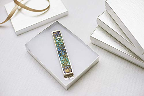 - Modern Mezuzah Case, Handmade By Israeli Artist with Ombre design in Purple, Blue and Gold colors, Perfect as Wedding and Hostess Gift