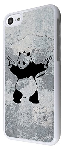 550 - Banksy Grafitti Art Wall Shooting Panda Design iphone 5C Coque Fashion Trend Case Coque Protection Cover plastique et métal - Blanc