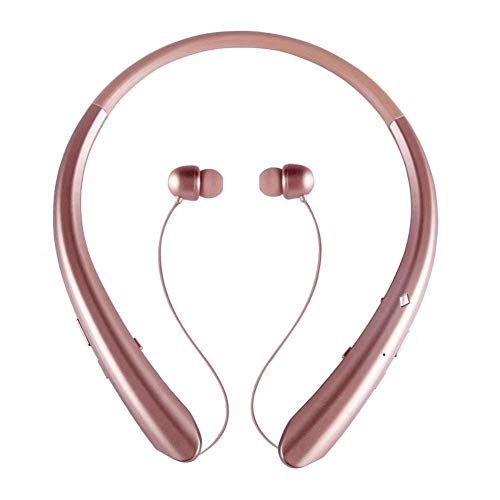 Wireless Neckband Headset, Retractable Earbuds, Wireless Headphones Stereo Earphones W/Call Vibrate Alert & Voice Prompts, Noise Cancelling Built-in Mic (Rose Gold)