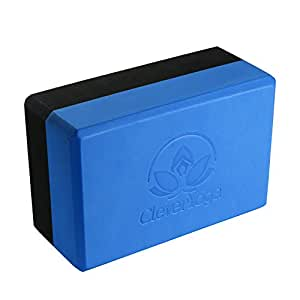 "Clever Yoga Blocks 9""x6""x4"" Exercise Block - The Best Durable Eco Friendly Recycled High Density Foam Block With Our Special ""Namaste"" (1 Bi-Color Block) (Blue/Gray)"