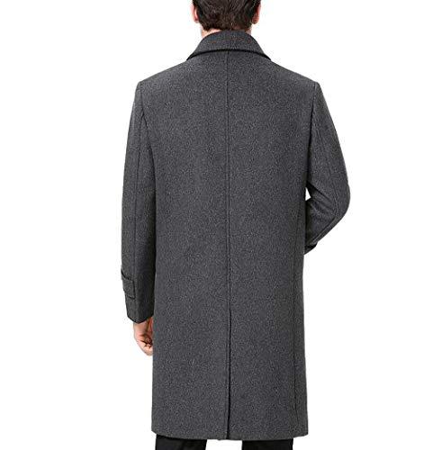 Homme Veste Coupe Couleur Manteaux Gray Vent Revers Laine Pour Ljxwh F7ZdR4Wqw