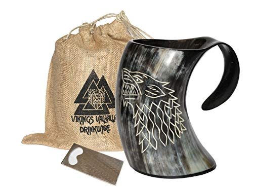 Vikings Valhalla's Game of thrones stark house viking drinking horn mug wolf carved tankard for beer wine mead ale ()