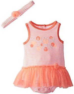 Baby Girls' Peach Print Sunsuit with Headband