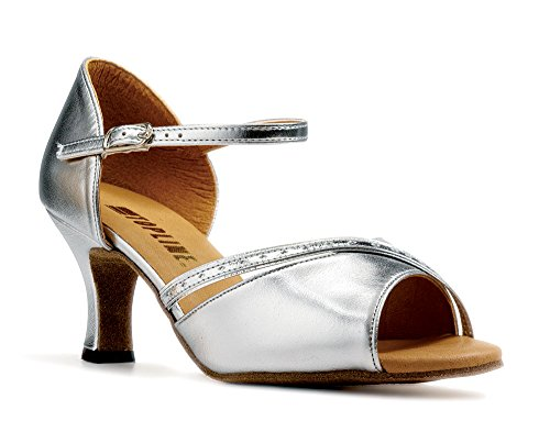 """Ladies Gold Or Silver Social Ballroom Dance Shoes ALISON with Strap 2.5"""" Flare By Topline Katz silver pu"""