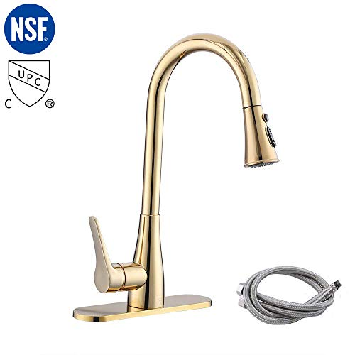 Review Of KES cUPC NSF Certified BRASS Singel Handle Pull Down Kitchen Faucet with Retractable Pull ...