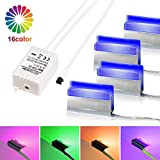 Set of 4 LED Glass Floor Lighting Lighting, LED Glass Edge Lighting Clip RGB LED Under Cabinet Lighting, LED Furniture Display Case and Lighting Led