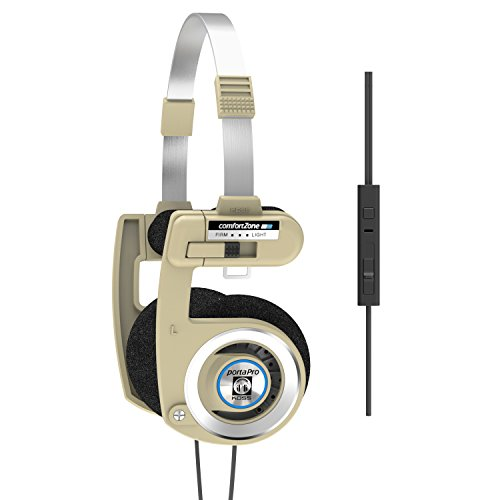 Koss Porta Pro Limited Edition Rhythm Beige Headphones | in-Line Microphone & Remote | Volume Control | Portable On-Ear | Hard Carry Case Included | Beige