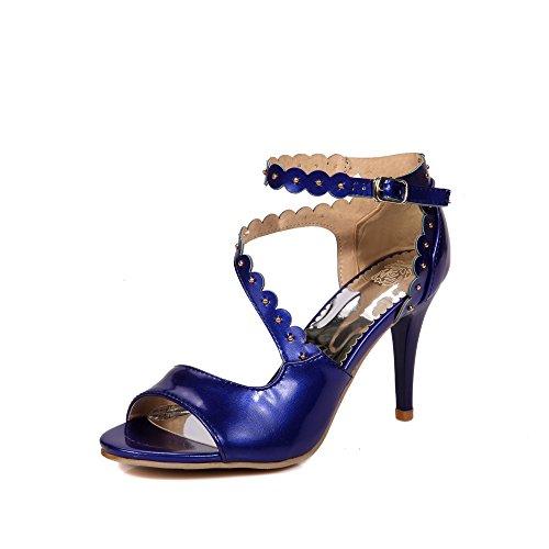 Pu artificiale YCMDM modo delle donne High Heel traspirante Hollow Sandali di sera del partito da sposa , blue , 35