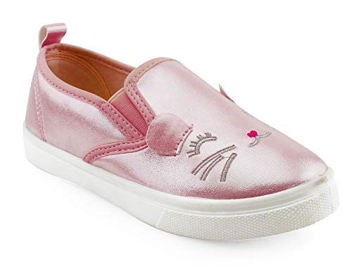 JELLY BEANS Girls Slip On Casual Shoes Sneaker with Kitten Face Pink Size - Bean Girl Jelly