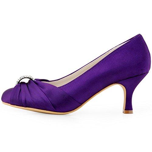 00b49f043 ElegantPark Women Pumps Mid Heel Closed Toe Brooch Ruched Satin Evening Prom  Wedding Shoes