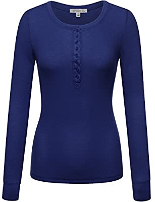 FPT Womens Long Sleeve Thermal Henley T-Shirt ROYAL LARGE