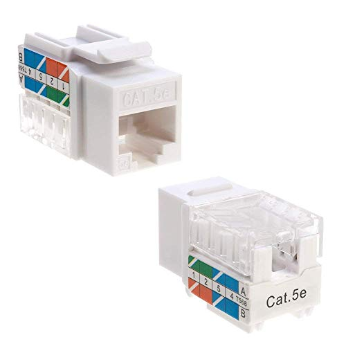 Cat5 Rj 45 White Coupler - Cat5e Ethernet RJ-45 Keystone Jack Cat5 Punch-Down Network White - Choose a Pack of 5/10/20/30/50 (5)