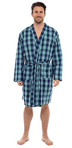 Best Deals Direct UK Mens Stripe & Check Woven Summer Cotton Poly Kimono Wrap Dressing Gown Robe HT030