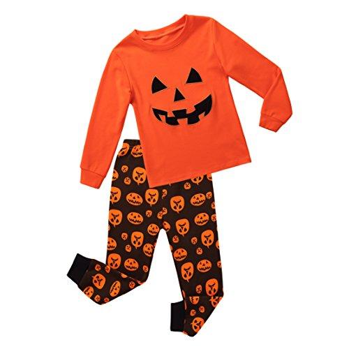Halloween Clothing For Kids (Koian Little Boys Pajamas Pumpkin Halloween Cotton Clothes Toddler Kids Sleepwear Pant Set (3T, Orange))