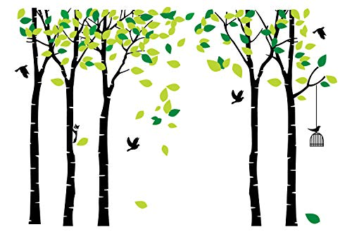 (ANBER Giant Jungle Tree Wall Decal Removable Vinyl Sticker Mural Art Bedroom Nursery Baby Kids Rooms Wall Décor (Black and Green) )
