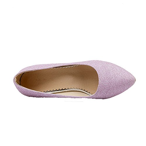 Amoonyfashion Femmes Pull-on Chaton-talons Pu Solides Chaussures À Bout Rond-chaussures Violet