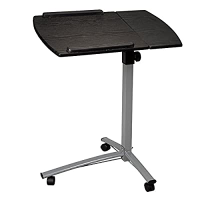 Height Angle Adjustable Rolling Laptop Desk Cart Bed Hospital Table with Split-top