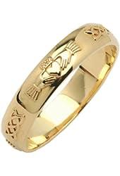 Mens 14k Yellow Gold Beveled Rounded Claddagh Irish Wedding Ring