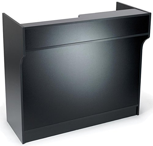 Free-Standing Black Melamine Register Stand, With Adjustable Shelves, Pull-Out Drawer, And Check Writing Area Cash Wrap