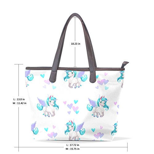 Bennigiry Large Unicorn Cartoon Shoulder Bags Patern Seamless Ladies Top Handle Tote Women Handbag Pattern Ar5x8FA