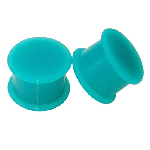 Piercing Area 1 Pair Turquoise Solid Soft Silicone Flexible Ear Plugs Gauges 2g