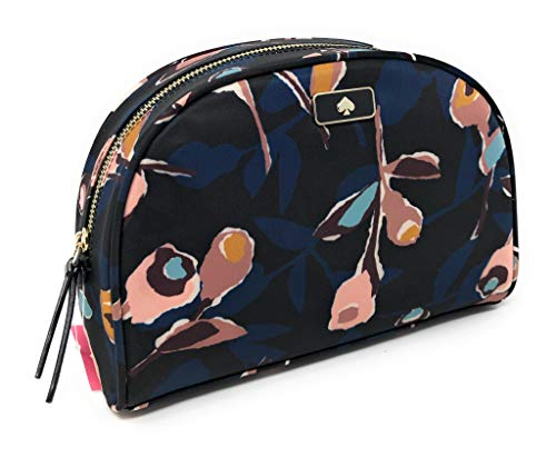 Kate Sapde Medium Dome Cosmetic Make-Up Travel Bag Black Multi Rose