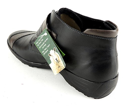 Remonte Black and Brown leather flat ankle boot with velcro fastening E6FvgrNYe